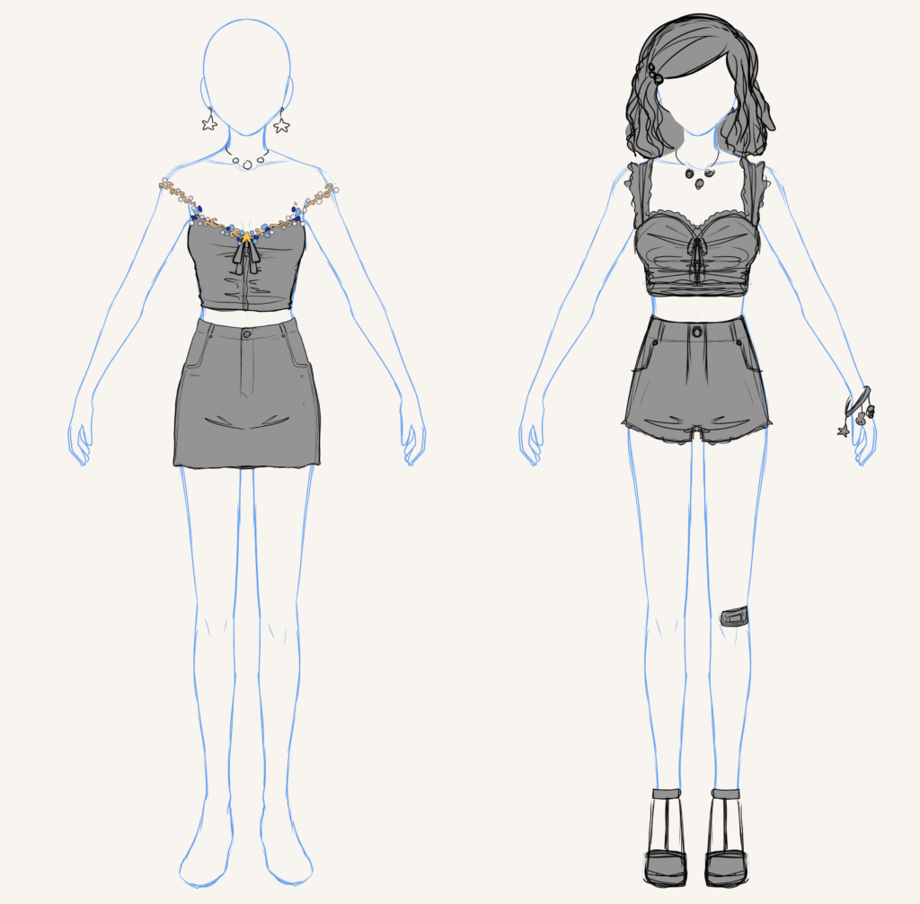 Two possible casual designs for Kiana.